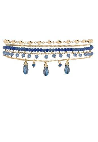 HIPANEMA blue and multi and gold Medium multi chain beaded bracelet Diego navy A5FE9ACB7A345CGS_1