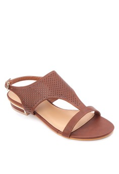 Perforated Strappy Flat Sandals