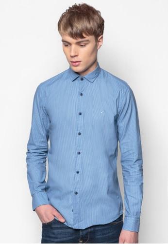 條紋合身長袖襯衫esprit台灣outlet, 服飾, 印花襯衫