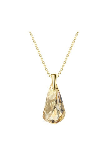 Her Jewellery yellow and gold Comet Droplets Pendant (Champagne; Yellow Gold) - Made with premium grade crystals from Austria 61ADFAC75A8D03GS_1