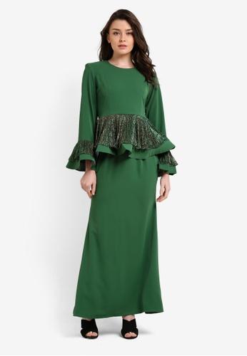 Butik Sireh Pinang green Tiarra Peplum Modern Kurung BU003AA0RN3CMY_1