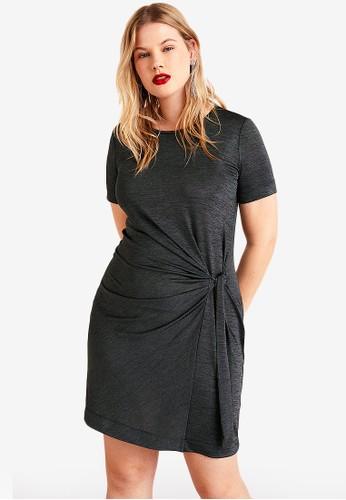 Violeta by MANGO grey Plus Size Bow Metallic Dress C2A3EAA53547D0GS_1
