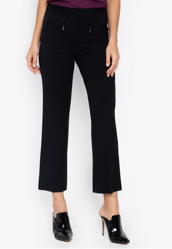 MARKS & SPENCER black Zipped Pocket Straight Leg Trousers 76F83AAD02D303GS_1