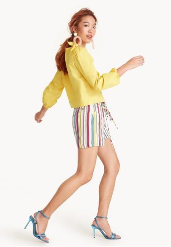 Pomelo multi High Waisted Rainbow Striped Shorts 670A1AADB85571GS_1