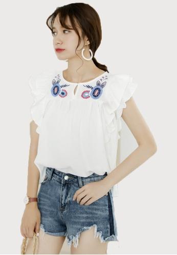 Shopsfashion white Boho Embroidery Ruffles Sleeve Blouse SH656AA0F6GSSG_1
