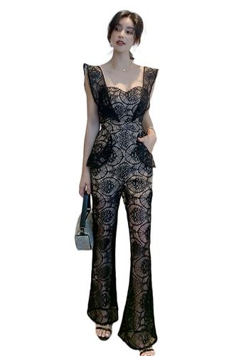 Sunnydaysweety black Lace Flying Sleeve Tube Top High Waist Jumpsuit A21022246 FE7DDAAC6D0F6AGS_1