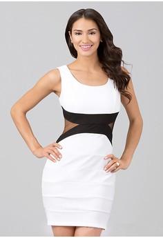 O-Neck Patchwork Sleeveless Bodycon Dress