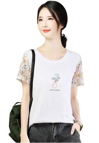 A-IN GIRLS white Elegant Lace Panel Round Neck T-Shirt 78B5FAA1CBB00BGS_1