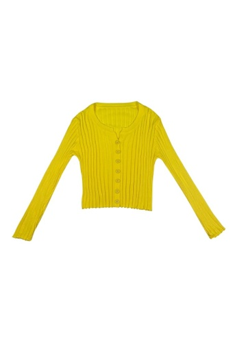 DRUM yellow Button Comfy knitwear - Yellow 00FA3AAA046F82GS_1