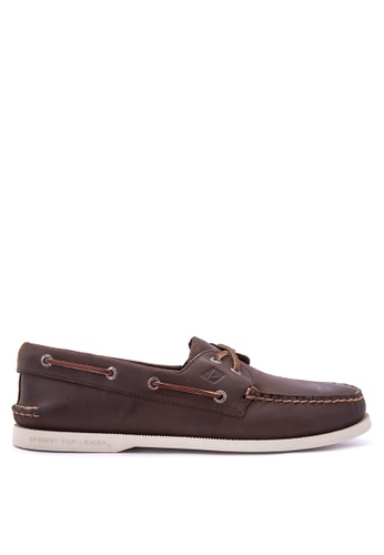 Sperry brown A/O 2 Eye Cross Lace Boat Shoes SP132SH0IJWQPH_1