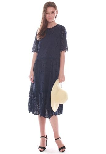 JOVET blue and navy Embroidered Midi Dress E7DA2AAB5758D6GS_1