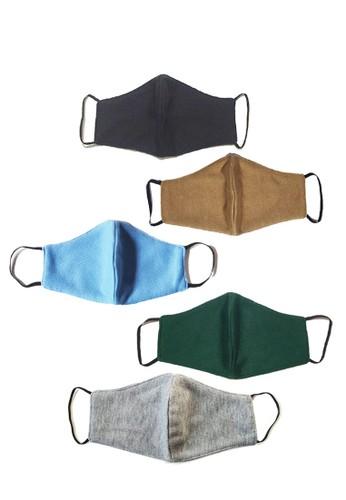 San Marco multi 5 in 1 Premium 3 ply Cotton  Mask  Black, Beige , Blue, Green & Light Grey 3E61BESAC8C893GS_1