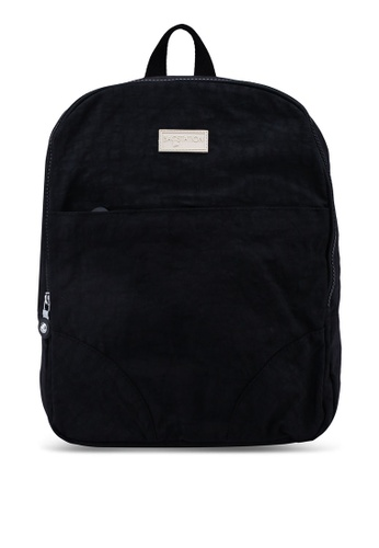 Bagstationz black Crinkled Nylon Small Backpack 05C9BAC650CD46GS_1