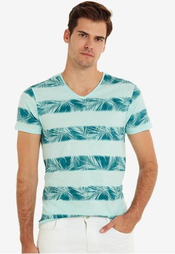 LC Waikiki green V-Neck Printed Short Sleeve T-Shirt 96742AA3EF8EB9GS_1