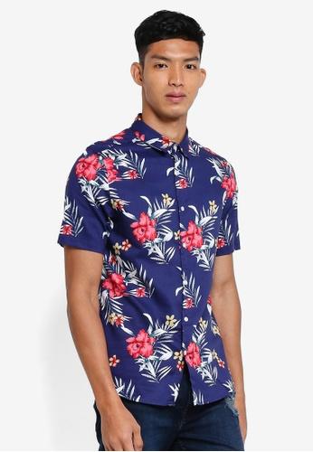 Burton Menswear London navy Navy Short Sleeve Hula Print Shirt EDFF1AA44B1A22GS_1