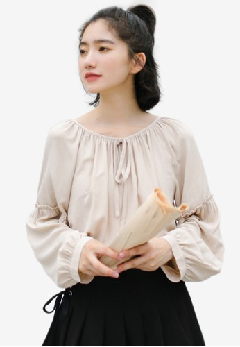 Shopsfashion beige Tie Up Collar Blouse 9A116AA78EEE76GS_1