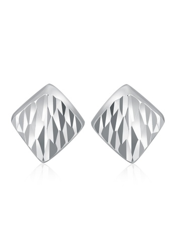 MaBelle silver 14K White Gold Faceted Simple Square-Shaped Stud Earrings F65F4AC0D961D4GS_1
