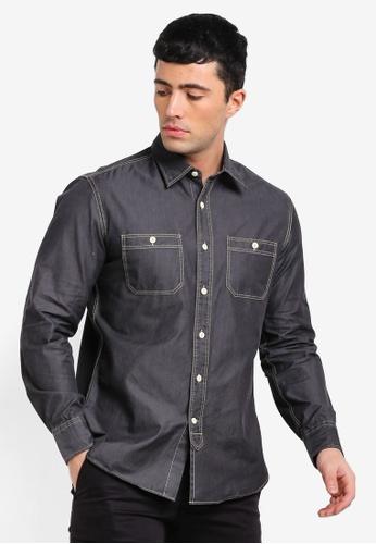 MANGO Man 灰色 長袖牛仔襯衫 E8E43AA70F8265GS_1