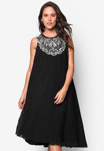 刺繡領無袖寬擺連身裙, 服飾esprit地址, 洋裝