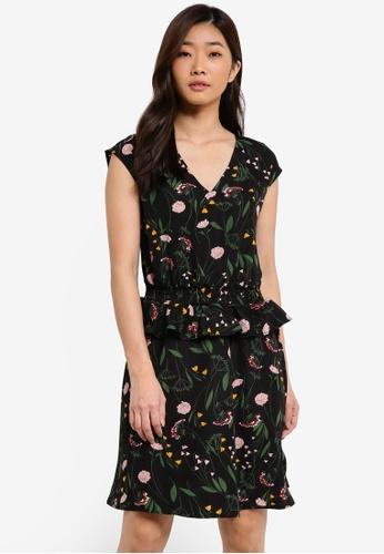 ZALORA black and multi V Neck Peplum Detail Dress 2D8C6AAA2E3C9FGS_1