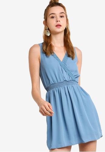 Something Borrowed 灰色 Lace Trim Sleeveless Smock Dress 40302AAC174D16GS_1