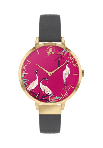Sara Miller Sara Miller London Womens 34mm Heron - Pink/Grey Leather Strap (SA2088) EE89BACACE16F5GS_1