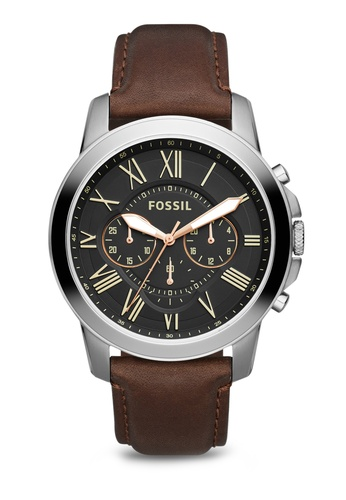 6f9e5c0756da6 Fossil brown Fossil Grant Dark Brown Leather Watch FS4813 FO164AC30KQJMY 1
