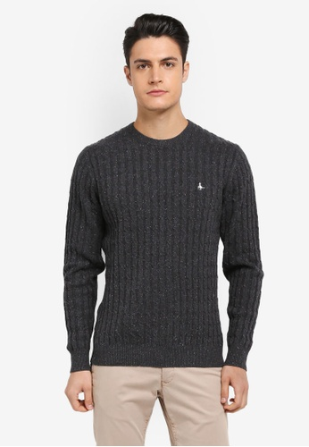 Jack Wills grey Marlow Cable Crew Neck Jumper 88A49AA5C2BDEEGS_1