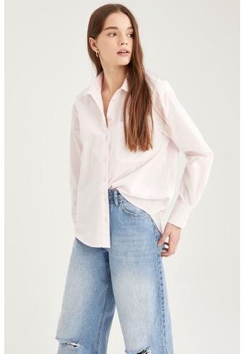 DeFacto pink Woman Woven Long Sleeve Shirt 7499DAAE525E6CGS_1