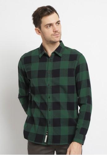 Osella green Osella Baju Pria Kemeja Lengan Panjang Kotak Kotak Green 16AE8AA84590C0GS_1