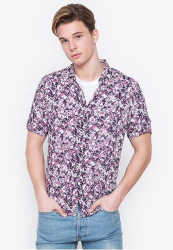 MICK + MARTY purple Printed Short Sleeve Shirt 3D5F6AA0A068FDGS_1