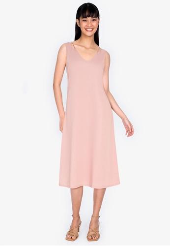 ZALORA BASICS pink Ribbon Tie Back Dress DA9D5AA3557215GS_1