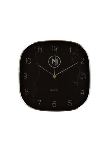 "Moderno silver Premium Wall Clock 11"" Mettallic Marble Finish D983AHL472C4D1GS_1"