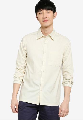 ZALORA BASICS 綠色 Elastic Cuff Shirt BECF7AAE754A83GS_1