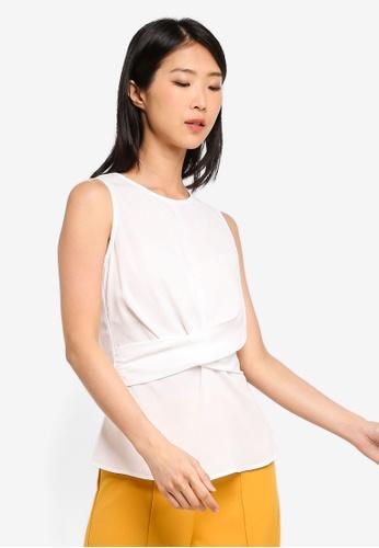 ZALORA BASICS white Basic Drape Waist Top DE8C9AA95350BDGS_1