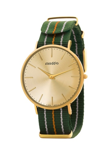 Massa Collections multi Grace Female Gold Gold w/ Army Green Nato 6C15FACAD1B0DBGS_1
