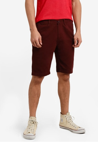 UniqTee 紅色 Bermuda Shorts With Half Elastic Waistband UN097AA0RFU8MY_1
