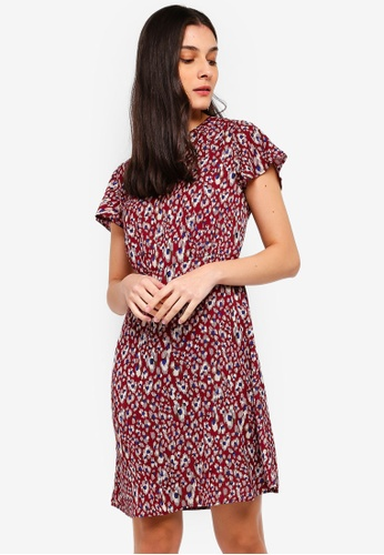 ZALORA red and multi Crew Neck Fit And Flare Dress 31FAEAACB08615GS_1