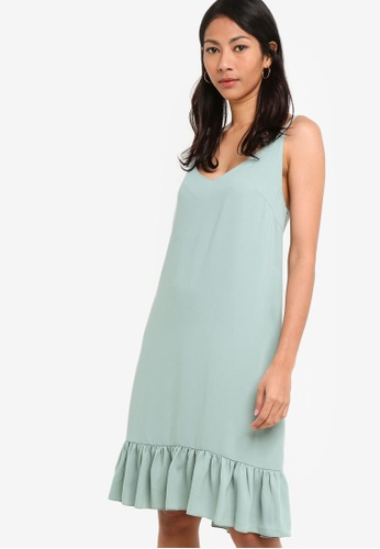ZALORA BASICS green Basic Drop Waist Hem Dress 9A91AAA55BA65EGS_1