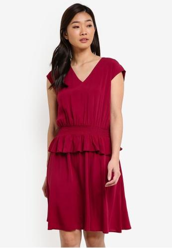 ZALORA red V Neck Peplum Detail Dress 7E97BAA7AF7C8EGS_1