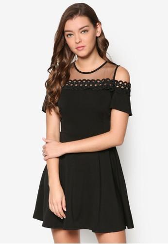 網紗拼接挖肩傘狀連身裙, 服esprit retail飾, 洋裝