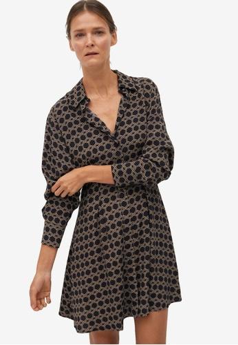 Mango black Printed Pleated Dress 1D70FAA4E66F04GS_1