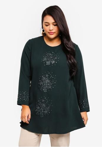 BYN green Plus Size Muslimah Blouse 10114AA7C004A1GS_1