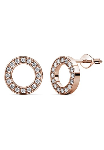 Krystal Couture gold KRYSTAL COUTURE Rose Gold Dazzling Round Stud Earrings Embellished With Swarovski® Crystals 6216CAC61F8454GS_1