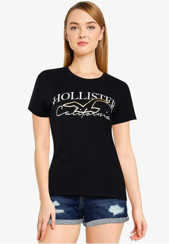 Hollister black Foil T-Shirt FEBE6AA04F03D5GS_1