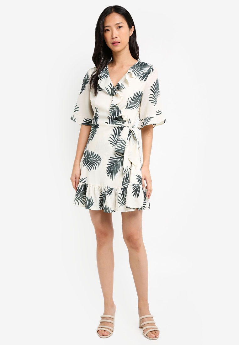 Leaf Base Ruffle White ZALORA Front Dress Wrap Tropical 10qwgTT7