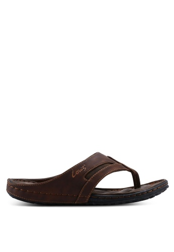Louis Cuppers 褐色 Paneled Flat Sandals 4F2C6SH50646A5GS_1