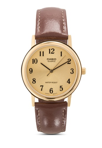 Casio brown Casio General Men's Leather Strap Fashion Watch MTP-1095Q-9B1 CA843AC32MIHMY_1