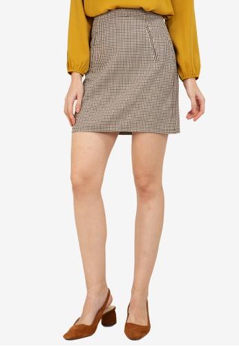 ZALORA WORK multi Printed Mini Check Skirt 5D65EAA5D9A78BGS_1