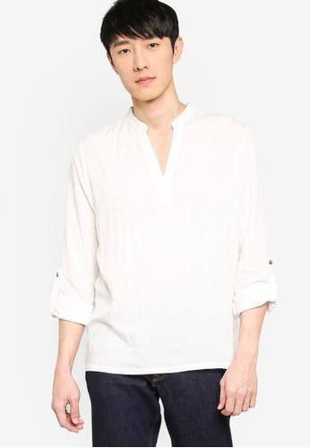ZALORA BASICS white V Neck Linen Blend Shirt 8EC5FAAF60C838GS_1